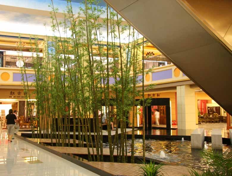 Hotel decorated with artificial bamboo trees in Malaysia